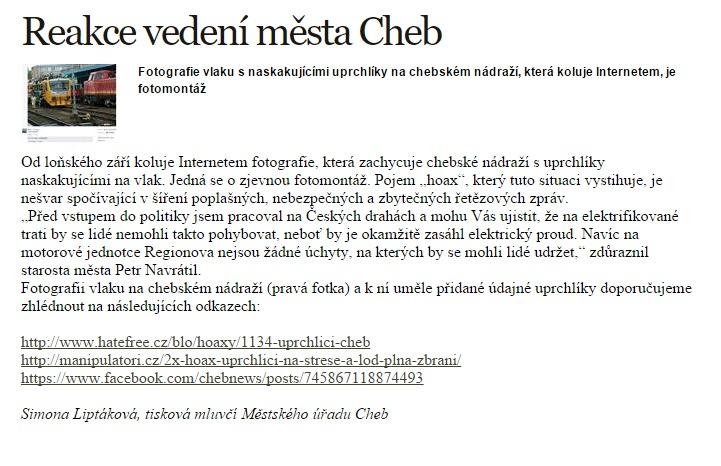 Reakce vedení města Cheb  Radnice  Město Cheb