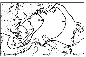 Mapa zachycující šíření mandelinky bramborové v Evropě ( Zdroj: moderni-dejiny.cz )