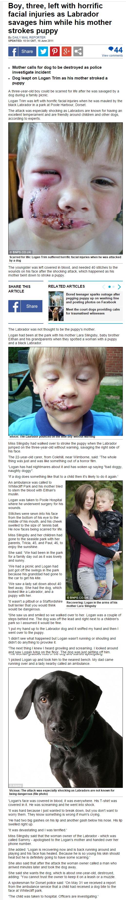 Původní zpráva z roku 2011o chlapci napadeném psem ( dailymail.co.uk/ )
