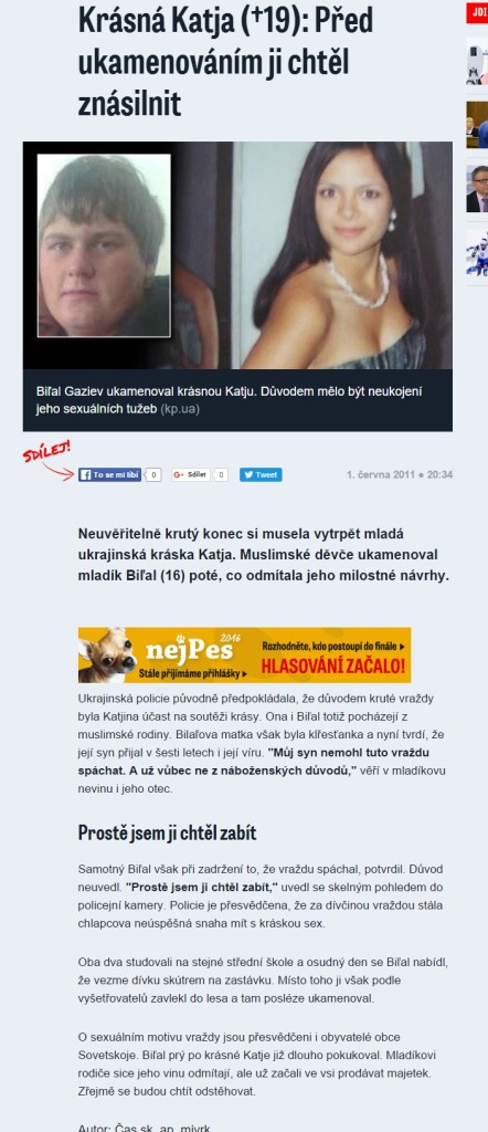 Krásná Katja †19 Před ukamenováním ji chtěl znásilnit