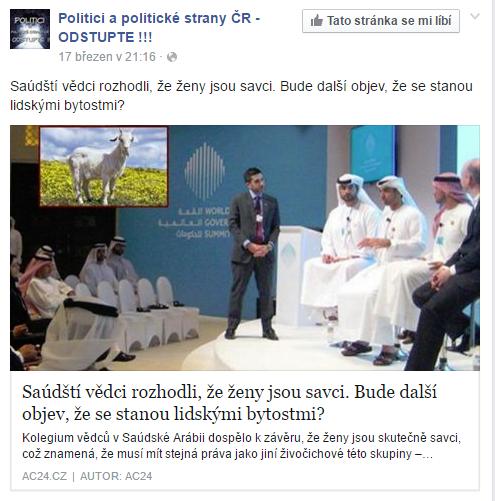 Saúdští vědci rozhodli že ženy jsou savci. Bude... Politici a politické strany ČR ODSTUPTE