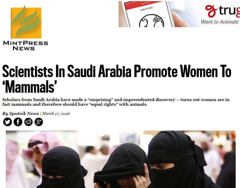 Scientists In Saudi Arabia Promote Women To Mammals