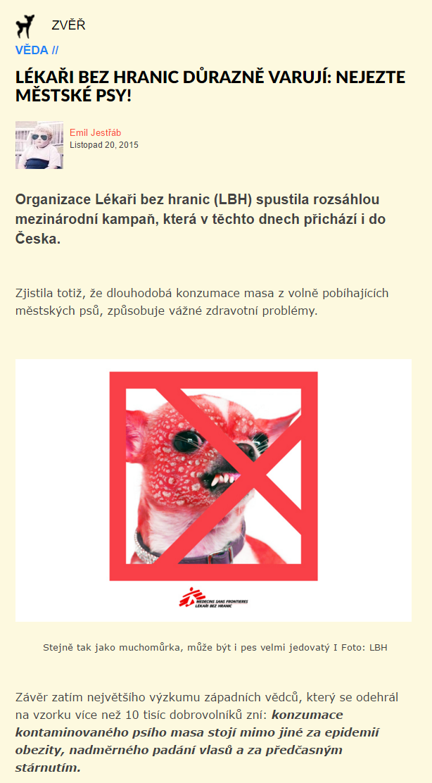 Burani.cz Lékaři bez hranic důrazně varují nejezte městské psy