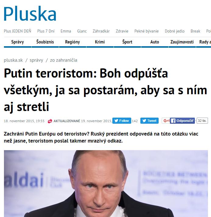 Putin teroristom Boh odpúšťa všetkým ja sa postarám aby sa s ním aj stretli