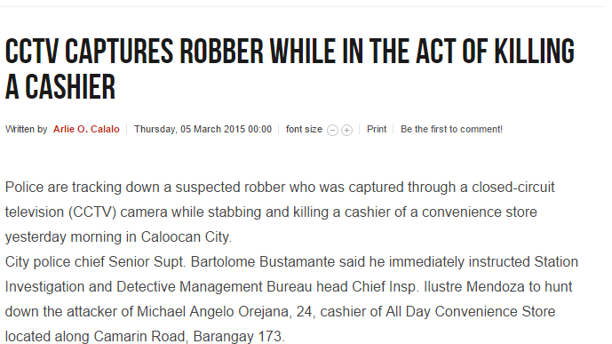 The Daily Tribune News CCTV captures robber while in the act of killing a cashier