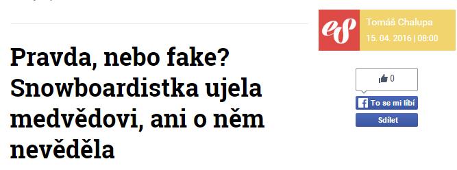 Pravda nebo fake Snowboardistka ujela medvědovi ani o něm nevěděla Extrastory.cz