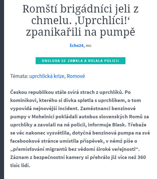 Romští brigádníci jeli z chmelu. 'Uprchlíci ' zpanikařili na pumpě Echo24.cz