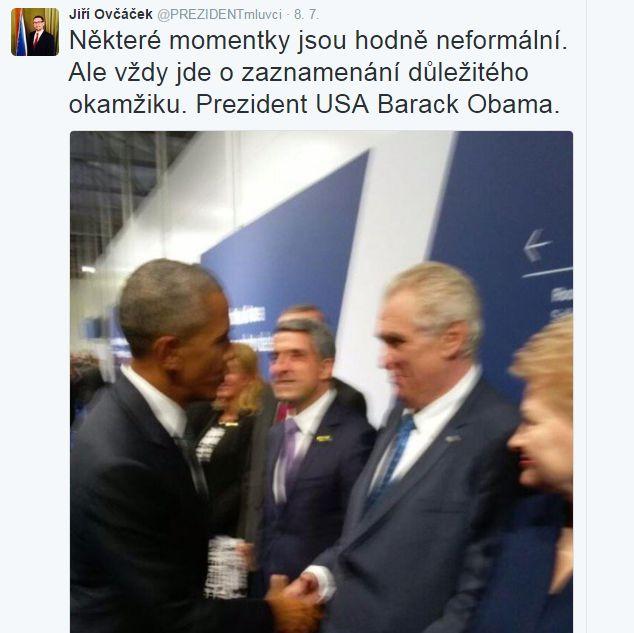 Screenshot tweetu Jiřího Ovčáčka